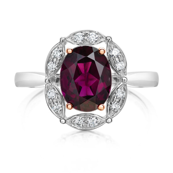 Burrells Halo 9ct Rose White Gold Garnet Diamond Dress Ring