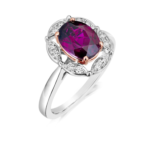 Burrells Halo 9ct Rose & White Gold Garnet & Diamond Dress Ring
