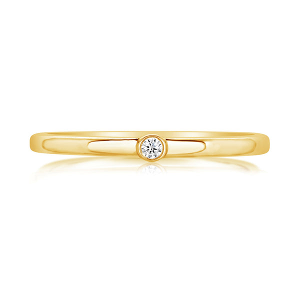 Burrells Ora 14ct Yellow Gold Diamond Solitaire Stacking Ring Small