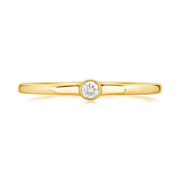Burrells Ora 14ct Yellow Gold Diamond Stacking Ring (Medium)