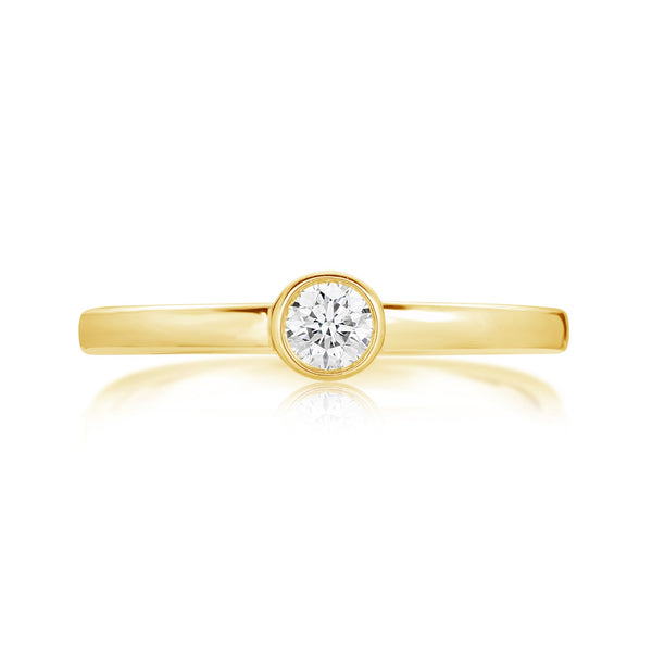 Burrells Ora 14ct Yellow Gold Diamond Stacking Ring (XL)