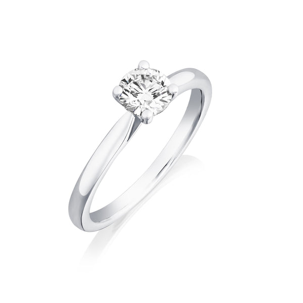 Burrells Platinum 0.61ct GSI2 Certified Round Brilliant Cut Diamond Solitaire Ring