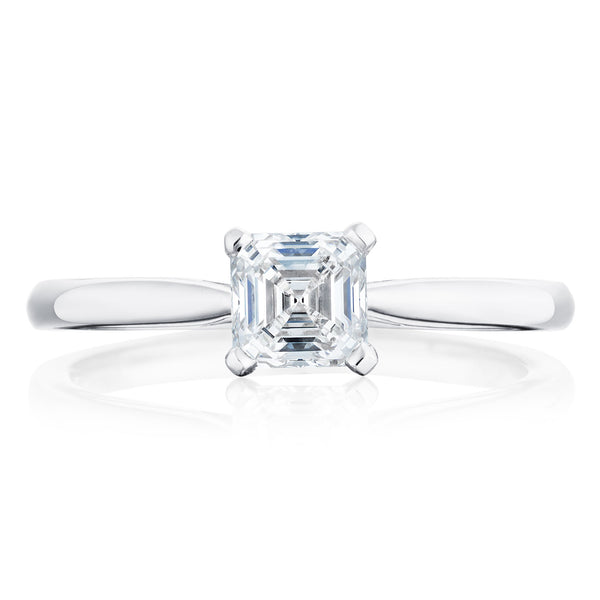 Burrells Platinum 0.70ct DSI1 Certified Asscher Cut Diamond Solitaire Ring