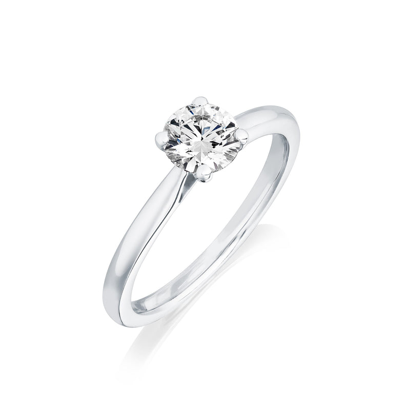 Burrells Platinum 0.78ct DIF Certified Round Brilliant Cut Diamond Solitaire Ring