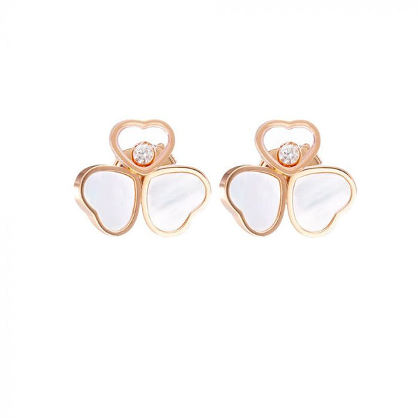 Chopard Happy Hearts Wings 18ct Rose Gold Diamond Mother of Pearl Stud Earrings 83A083-5301