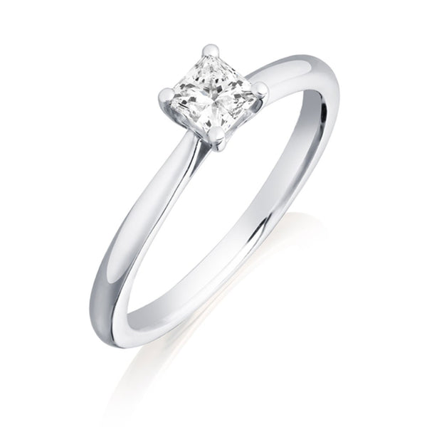 Platinum 0.30ct DIF Certified Princess Cut Diamond Solitaire Ring