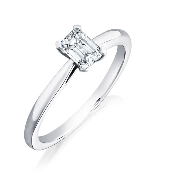 Burrells Platinum 0.51ct HVS2 Certified Emerald Cut Diamond Solitaire Ring