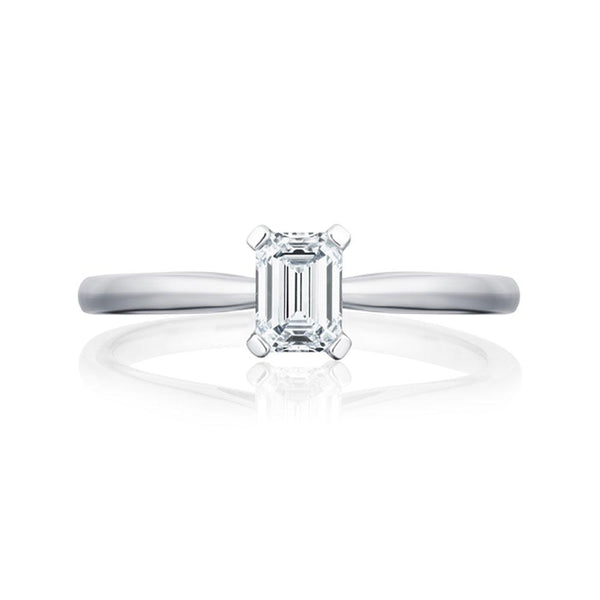 Platinum 0.51ct HVS2 Certified Emerald Cut Diamond Solitaire Ring