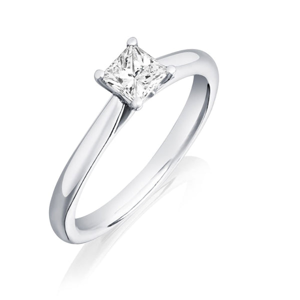 Platinum 0.40ct HSI1 Certified Princess Cut Diamond Solitaire Ring