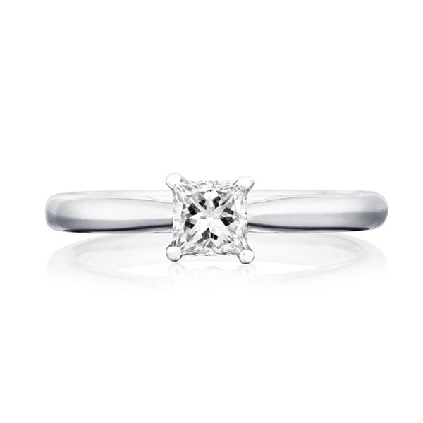 Platinum 0.43ct FSI2 Certified Princess Cut Diamond Solitaire Ring