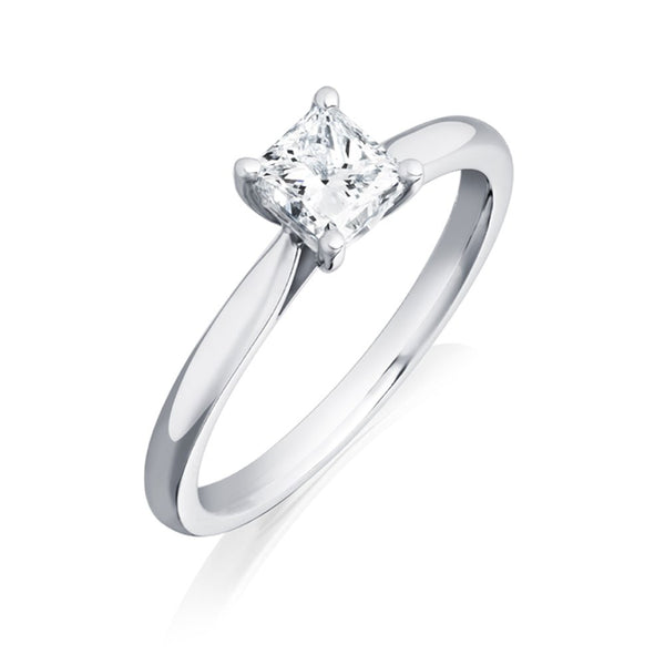Burrells Platinum 0.83ct FSI1 Certified Princess Cut Diamond Solitaire Ring