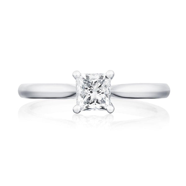Platinum 0.83ct FSI1 Certified Princess Cut Diamond Solitaire Ring