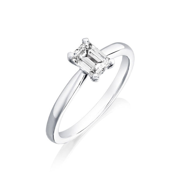 Platinum 0.70ct Emerald Cut Diamond Solitaire Ring