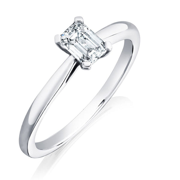 Platinum 0.70ct GSI1 Certified Emerald Cut Diamond Solitaire Ring