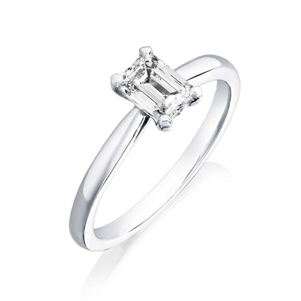 Platinum 0.93ct HSI2 Certified Emerald Cut Diamond Solitaire Ring