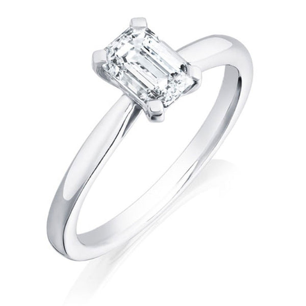 Burrells Platinum 1.01ct Emerald Cut Diamond Solitaire Ring