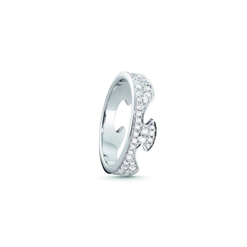 Georg Jensen Fusion End Ring - 18 ct. White Gold with Pavé set Brilliant Cut Diamonds