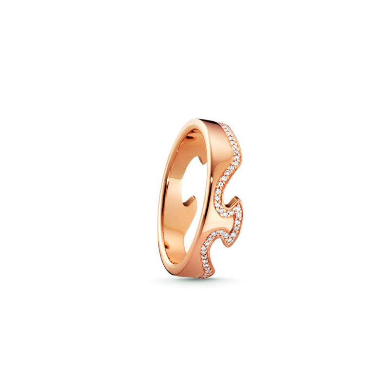 Georg Jensen Fusion End Ring - 18ct. Rose Gold with Brilliant Cut Diamonds