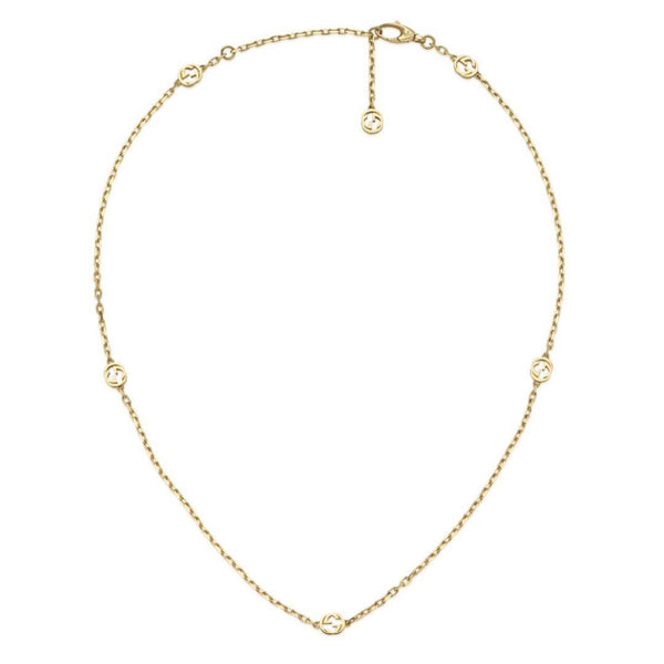 Gucci Interlocking G 18ct Yellow Gold Necklace code YBB629901001 front view