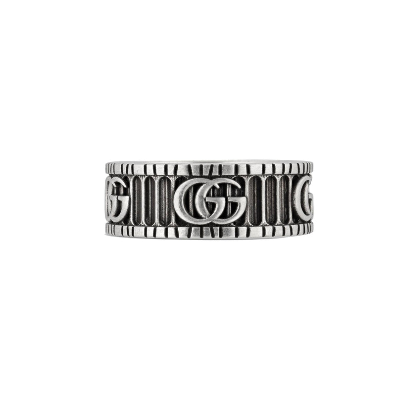 Gucci Marmont Double G Motif Sterling Silver Ring YBC5518990010