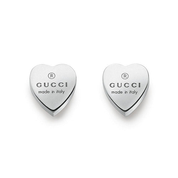 Gucci Trademark Heart Stud Earrings - Sterling Silver