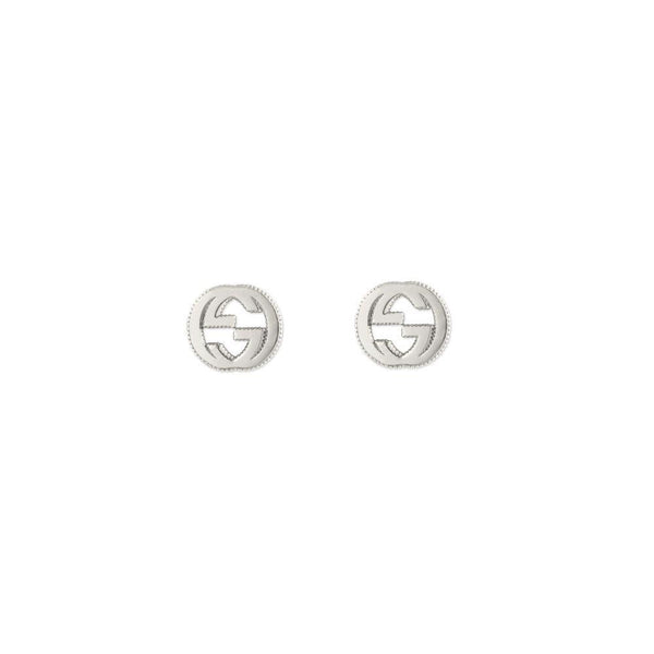 Gucci GG Interlocking Stud Earrings - Sterling Silver