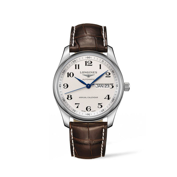 Longines Master Collection Silver Dial & Brown Leather Strap 40mm