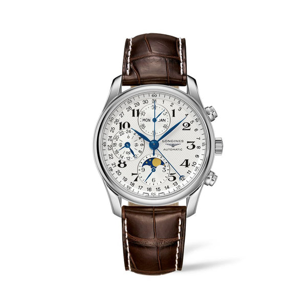 Longines Master Collection Moonphase Silver Dial & Brown Leather Strap 40mm