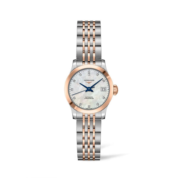 Longines Record Watch Mother of Pearl Dial With Diamonds & Steel/Rose Gold Bracelet 26mm