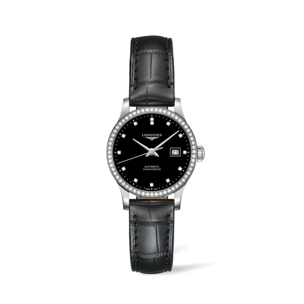 Longines Record Watch Diamond Set Black Dial & Black Leather Strap 30mm