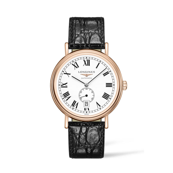 Longines Presence Collection Rose Gold PVD Watch with black leather strap 40mm L4.905.1.11.2