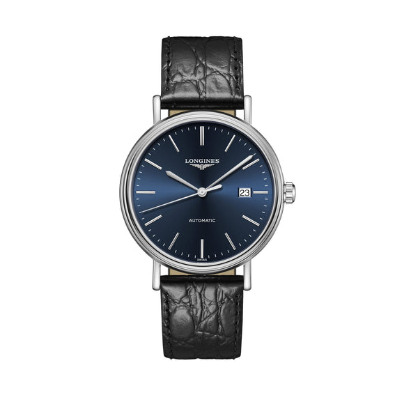 Longines Presence Collection Steel case and black leather strap with blue dial Watch 40mm L4.922.4.92.2