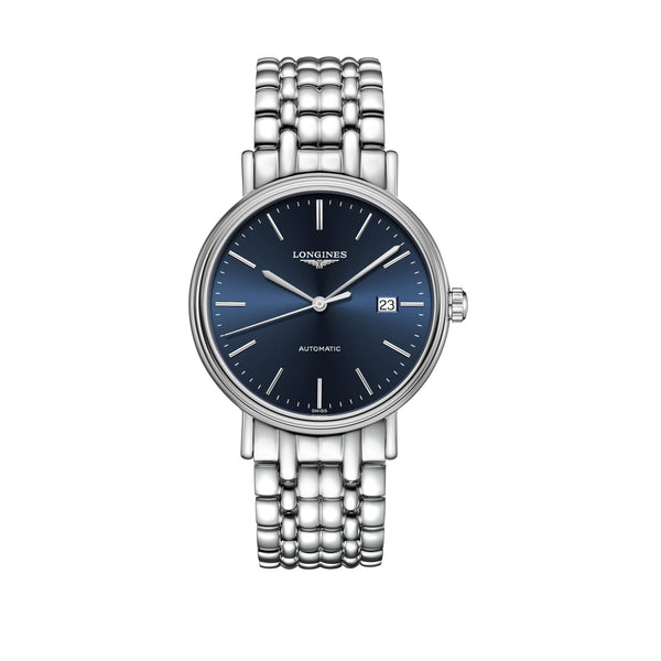 Longines Presence Collection Watch Steel Case and bracelet with blue dial 40mm L4.922.4.92.6