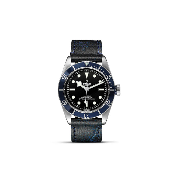 Tudor Black Bay Watch Blue Bezel & Leather Strap 41mm M79230B-0007 Face