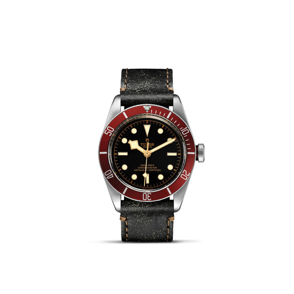 Tudor Black Bay Watch Burgundy Bezel & Brown Leather Strap 41mm M79230R-0011 Face