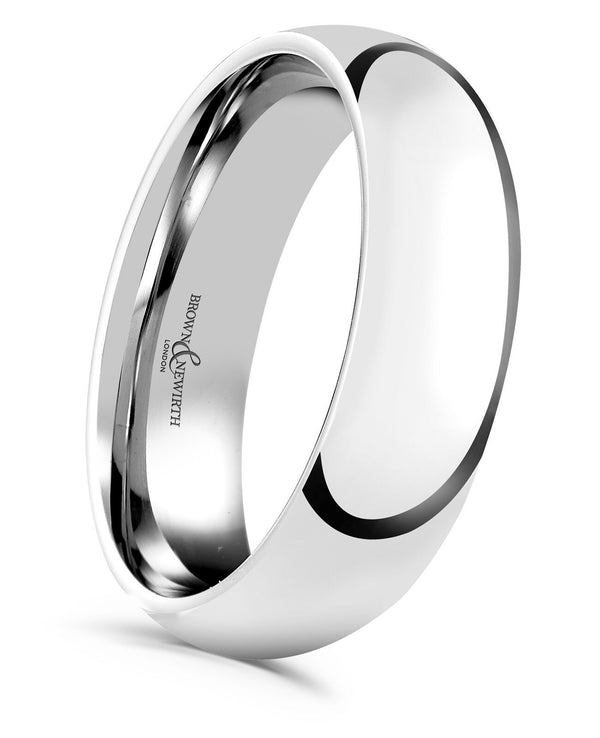 A smooth, highly polished wedding ring available for either men or ladies in an array of width and metals. Image AN Sleek style in a 6mm width.