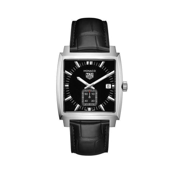TAG Heuer Monaco Black Dial Leather Strap 37mm WAW131A.FC6177 Face