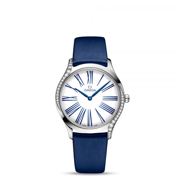 Omega De Ville Trésor Quartz White Dial & Blue Fabric Strap 36mm Face