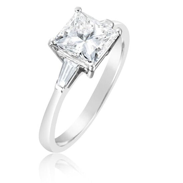 Platinum 1.70ct Princess and Baguette Cut Diamond Three Stone Ring