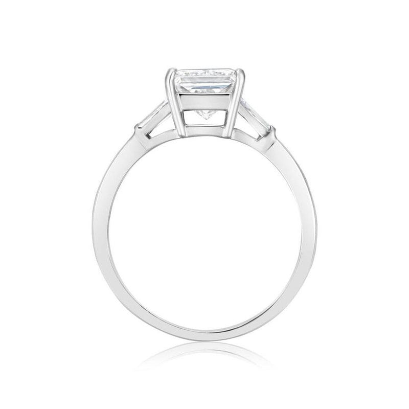 Burrells Platinum 1.51ct HVVS2 Certified Princess Cut & Baguette Cut Diamond Trilogy Ring