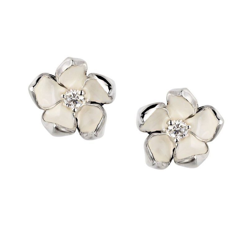 Shaun Leane Silver Cherry Blossom Diamond Flower Earrings