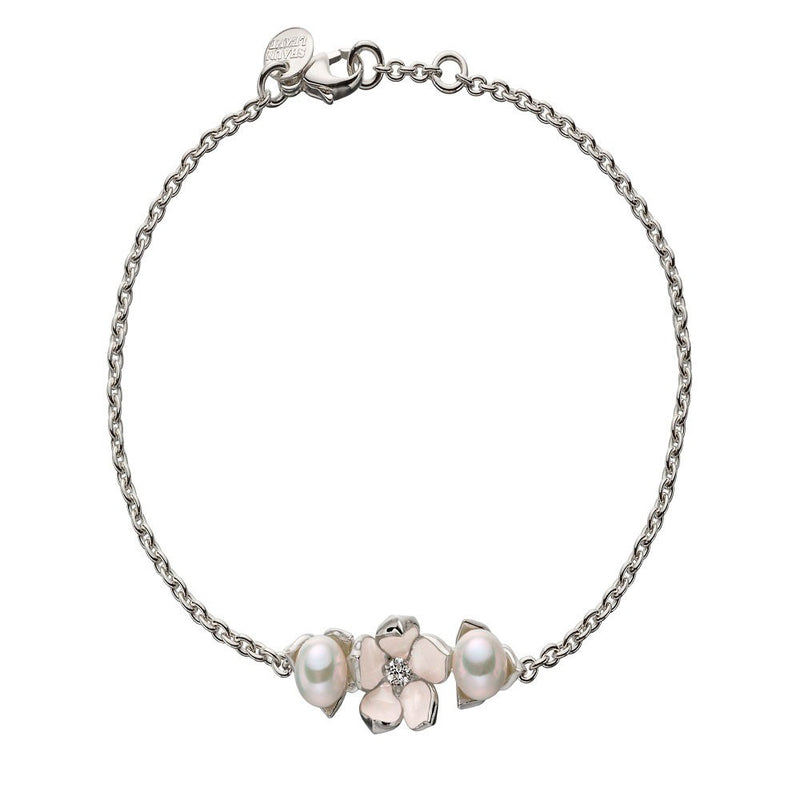 Shaun Leane Silver Cherry Blossom Single Diamond and Pearl Bracelet