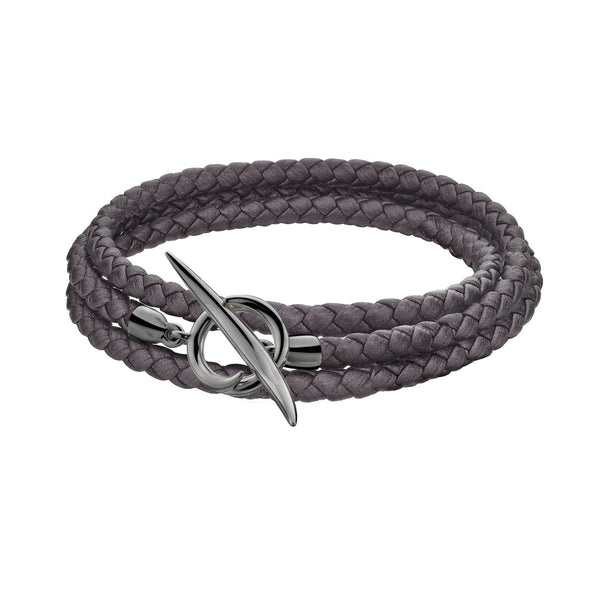 Shaun Leane Silver Black Rhodium Quill Metallic Pewter Leather Wrap Bracelet (S)