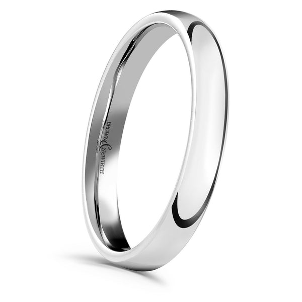 A smooth, highly polished wedding ring available for either men or ladies in an array of width and metals. Image AN Sleek style in a 2mm width.