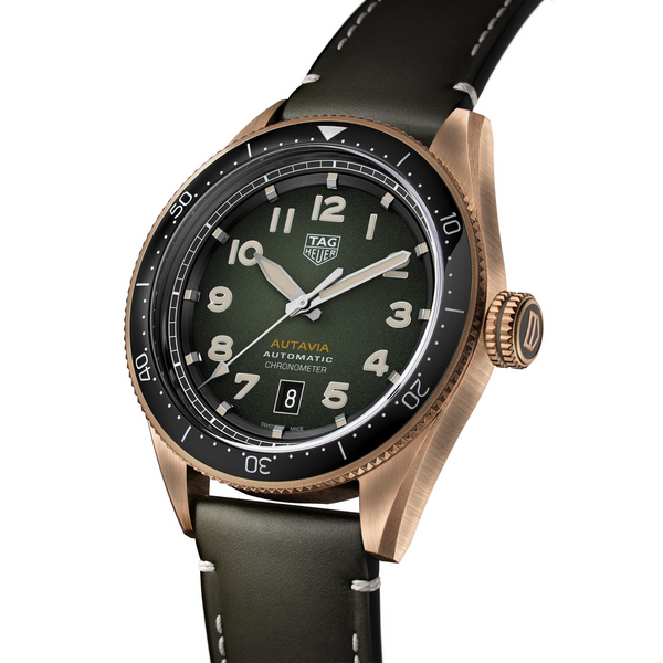 TAG Heuer Autavia Bronze Watch Khaki Leather 42mm WBE5190.FC8268 Profile