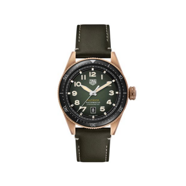 TAG Heuer Autavia Bronze Watch Khaki Leather 42mm WBE5190.FC8268