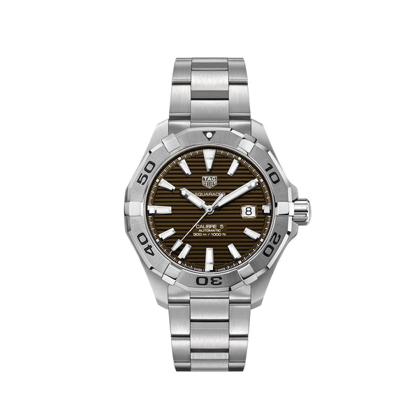 TAG Heuer Aquaracer Watch Brown Dial Steel Bracelet 43mm WAY2018.BA0927 Face