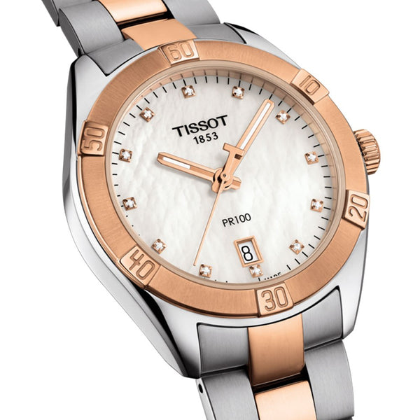 Tissot PR 100 Sport Chic Watch Mother of Pearl Dial & Steel Bracelet 36mm T1019102211600