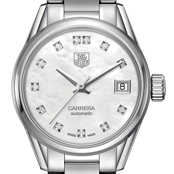 TAG Heuer Carrera Calibre 9 Automatic Watch Diamond Dial 28mm WAR2414.BA0776