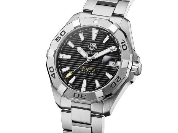 TAG Heuer Aquaracer Watch Black Steel 41mm WBD2110.BA0928 Angle